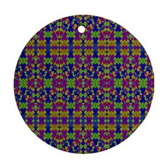 Ethnic Modern Geometric Pattern Round Ornament (two Sides)  by dflcprints