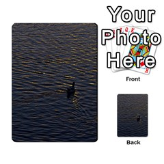Lonely Duck Swimming At Lake At Sunset Time Multi Purpose Cards (rectangle)