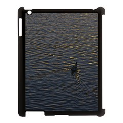 Lonely Duck Swimming At Lake At Sunset Time Apple Ipad 3/4 Case (black) by dflcprints