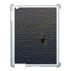 Lonely Duck Swimming At Lake At Sunset Time Apple Ipad 3/4 Case (white) by dflcprints