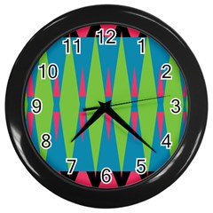 Connected Rhombus			wall Clock (black) by LalyLauraFLM