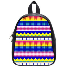 Rectangles Waves And Circles			school Bag (small) by LalyLauraFLM