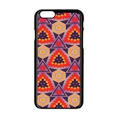 Triangles Honeycombs And Other Shapes Patternapple Iphone 6/6s Black Enamel Case by LalyLauraFLM