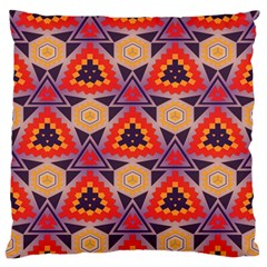 Triangles Honeycombs And Other Shapes Pattern large Flano Cushion Case (two Sides) by LalyLauraFLM