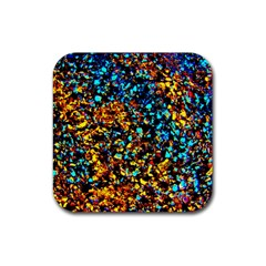 Colorful Seashell Beach Sand, Rubber Coaster (square)  by Costasonlineshop