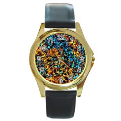 Colorful Seashell Beach Sand, Round Gold Metal Watches by Costasonlineshop