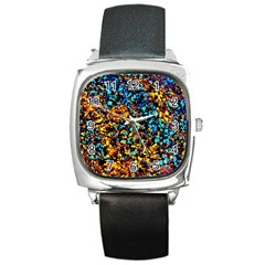 Colorful Seashell Beach Sand, Square Metal Watches by Costasonlineshop