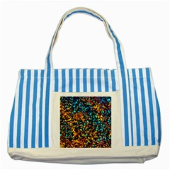 Colorful Seashell Beach Sand, Striped Blue Tote Bag  by Costasonlineshop