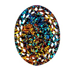 Colorful Seashell Beach Sand, Oval Filigree Ornament (2 Side)  by Costasonlineshop