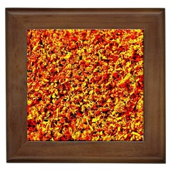Orange Yellow  Saw Chips Framed Tiles by Costasonlineshop