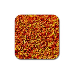 Orange Yellow  Saw Chips Rubber Coaster (square)  by Costasonlineshop