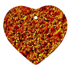 Orange Yellow  Saw Chips Heart Ornament (2 Sides)