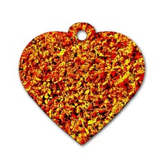 Orange Yellow  Saw Chips Dog Tag Heart (one Side)