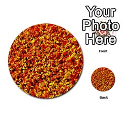 Orange Yellow  Saw Chips Multi Purpose Cards (round)  by Costasonlineshop