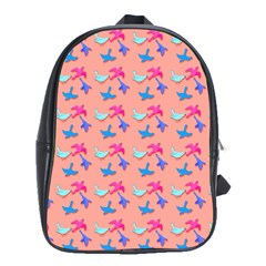 Birds Pattern on Pink Background School Bags(Large)