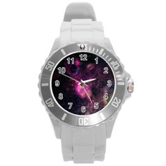 Purple Clouds Round Plastic Sport Watch (l) by trendistuff