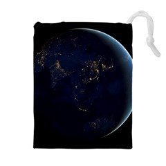 Global Night Drawstring Pouches (extra Large) by trendistuff