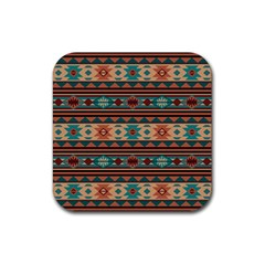 Southwest Design Turquoise And Terracotta Rubber Square Coaster (4 Pack)  by SouthwestDesigns