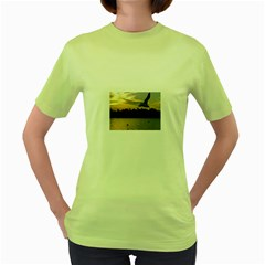 Intercoastal Seagulls 4 Women s Green T-Shirt by Jamboo