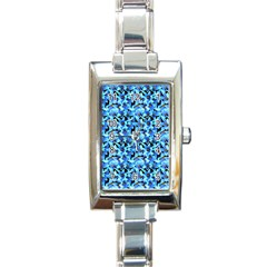 Turquoise Blue Abstract Flower Pattern Rectangle Italian Charm Watches by Costasonlineshop