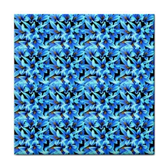 Turquoise Blue Abstract Flower Pattern Tile Coasters by Costasonlineshop