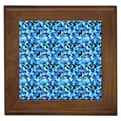 Turquoise Blue Abstract Flower Pattern Framed Tiles by Costasonlineshop