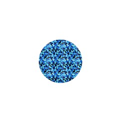 Turquoise Blue Abstract Flower Pattern 1  Mini Buttons by Costasonlineshop