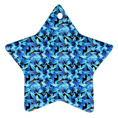 Turquoise Blue Abstract Flower Pattern Ornament (star)  by Costasonlineshop