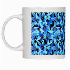Turquoise Blue Abstract Flower Pattern White Mugs by Costasonlineshop