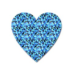 Turquoise Blue Abstract Flower Pattern Heart Magnet