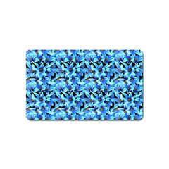 Turquoise Blue Abstract Flower Pattern Magnet (name Card) by Costasonlineshop
