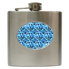 Turquoise Blue Abstract Flower Pattern Hip Flask (6 Oz)