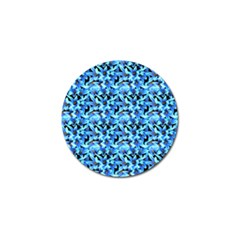 Turquoise Blue Abstract Flower Pattern Golf Ball Marker by Costasonlineshop
