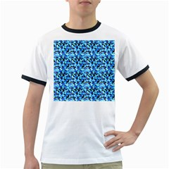 Turquoise Blue Abstract Flower Pattern Ringer T Shirts by Costasonlineshop