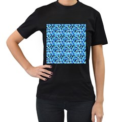 Turquoise Blue Abstract Flower Pattern Women s T Shirt (black) (two Sided) by Costasonlineshop