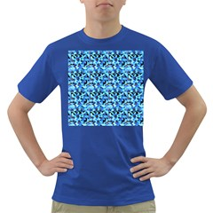 Turquoise Blue Abstract Flower Pattern Dark T Shirt by Costasonlineshop