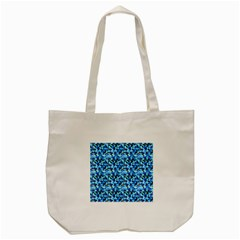 Turquoise Blue Abstract Flower Pattern Tote Bag (cream)  by Costasonlineshop
