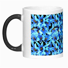 Turquoise Blue Abstract Flower Pattern Morph Mugs by Costasonlineshop