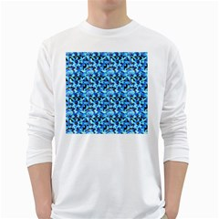 Turquoise Blue Abstract Flower Pattern White Long Sleeve T Shirts by Costasonlineshop