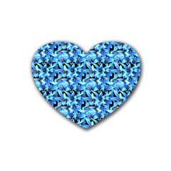 Turquoise Blue Abstract Flower Pattern Heart Coaster (4 Pack)  by Costasonlineshop