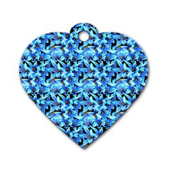 Turquoise Blue Abstract Flower Pattern Dog Tag Heart (one Side) by Costasonlineshop