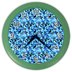 Turquoise Blue Abstract Flower Pattern Color Wall Clocks