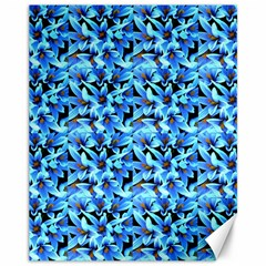 Turquoise Blue Abstract Flower Pattern Canvas 11  X 14   by Costasonlineshop