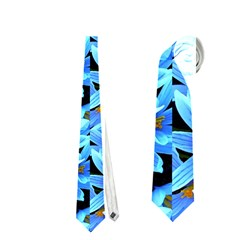 Turquoise Blue Abstract Flower Pattern Neckties (one Side)