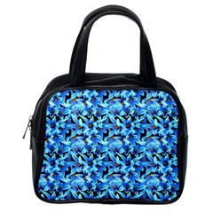 Turquoise Blue Abstract Flower Pattern Classic Handbags (one Side) by Costasonlineshop