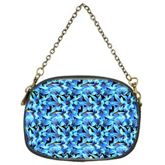 Turquoise Blue Abstract Flower Pattern Chain Purses (one Side)  by Costasonlineshop