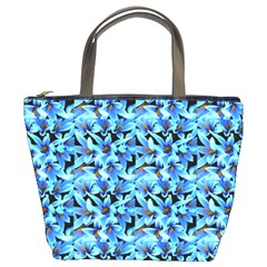 Turquoise Blue Abstract Flower Pattern Bucket Bags