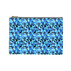 Turquoise Blue Abstract Flower Pattern Cosmetic Bag (large)  by Costasonlineshop