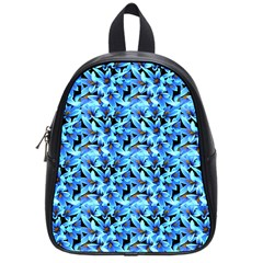 Turquoise Blue Abstract Flower Pattern School Bags (small)  by Costasonlineshop