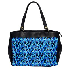 Turquoise Blue Abstract Flower Pattern Office Handbags by Costasonlineshop